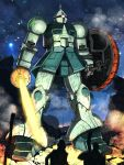 androgynous energy_sword fire gundam gyan mecha mobile_suit_gundam outdoors shield sky star sword umigarasu weapon zeon