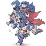 1girl 3boys armor blue_hair carrying fire_emblem horns ike lucina multiple_boys nintendo shovel shovel_knight shovel_knight_(character) super_smash_bros. worktool