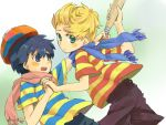 2boys baseball_bat black_hair blonde_hair blush cap lucas mother_(series) multiple_boys ness nintendo scarf short_hair