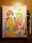 2girls 4boys bangs blonde_hair blue_eyes brown_hair cellphone crown earrings long_hair luigi multiple_boys multiple_girls nintendo omar_dogan pajamas photo princess princess_daisy princess_peach signature smartphone super_mario_bros. super_mario_land toad toad_(mario) traditional_media
