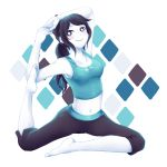 1girl barefoot blush feet flexible grey_hair harlequin_(pattern) looking_at_viewer midriff navel nintendo pale_skin smile solo stomach stretch tank_top tejennn wii_fit wii_fit_trainer yoga