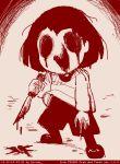 androgynous blood chara_(undertale) itimu knife monochrome sketch solo undertale