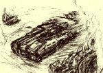 damaged gundam highres kenno9mp40 mobile_suit_gundam monochrome no_humans tank type_61_(gundam) vehicle