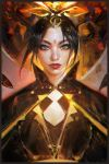 1girl avatar:_the_last_airbender azula black_hair facial_mark forehead_mark looking_at_viewer ross_tran solo tiara upper_body