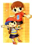 2boys black_hair brown_hair cap crossover doubutsu_no_mori mother_(series) multiple_boys ness nintendo short_hair super_smash_bros. villager_(doubutsu_no_mori)