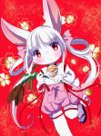 1girl female flower furry kemoribon pink_eyes pink_hair plant rabbit sandals short_hair solo twintails