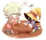 artist_request chef_hat final_fantasy final_fantasy_ix glowing glowing_eyes hat quina_quen sitting table vivi_ornitier wizard_hat
