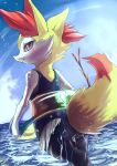 braixen float lifebuoy looking_back ocean pokemon pokemon_(game) swimsuit tagme twig