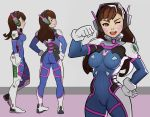 1girl ass bodysuit breasts character_sheet d.va_(overwatch) facial_mark hand_on_hip hands_on_hips looking_at_viewer looking_back overwatch splashbrush wink