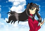 1girl aqua_eyes black_hair blue_sky breasts clouds fate/stay_night fate_(series) gem hair_ribbon long_hair looking_at_viewer matsudora124 ribbon sky smile solo tohsaka_rin two_side_up