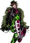 1boy animal_print beauty_mark belt boots brown_hair diabolik_lovers fangs feather_boa feet gloves glowing glowing_eyes green_eyes hat leopard_print licking_lips looking_at_viewer mole otsukaresanpo sakamaki_laito shiny shiny_clothes simple_background solo tongue tongue_out turtleneck white_background