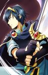 1boy blue_eyes blue_hair cape fingerless_gloves fire_emblem fire_emblem:_monshou_no_nazo gloves lyn_(shunao) male_focus marth nintendo short_hair solo sword