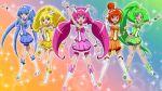 5girls aoki_reika cure_beauty cure_happy cure_march cure_peace cure_sunny hino_akane_(smile_precure!) hoshizora_miyuki kise_yayoi midorikawa_nao multiple_girls open_mouth precure shiny shiny_hair smile_precure! sukima_sangyou tiara