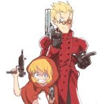 1boy 1girl blonde_hair blue_eyes crossover gun inkerton-kun looking_at_viewer trigun vampire_(game) vash_the_stampede weapon