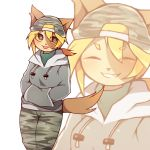 1girl artist_request blonde_hair blue_eyes cap cat female furry hat short_hair solo tongue white_background