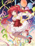 1girl ahoge blush dress female gloves gummy_bear happy high_heels jellybear long_hair pantyhose redhead ribbon twintails yellow_eyes