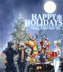 1girl 4boys abs antlers beak bottle cake car chocobo christmas dress english everyone final_fantasy final_fantasy_xv food gladiolus_amicitia ground_vehicle hat ignis_scientia jacket lunafreya_nox_fleuret moon motor_vehicle multiple_boys night night_sky noctis_lucis_caelum official_art plate present prompto_argentum riding santa_costume santa_hat scarf sky square_enix wine_glass