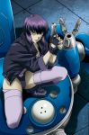 1girl boots brown_eyes cyborg female fingerless_gloves ghost_in_the_shell ghost_in_the_shell_stand_alone_complex gloves gun highres jacket kusanagi_motoko leotard platin_(alios) purple_hair short_hair solo tachikoma thigh-highs weapon