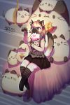 1girl artist_request bed blonde_hair blue_eyes cat furry long_hair plush solo tagme thigh-highs toy