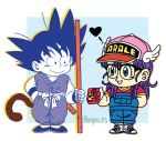 1boy 1girl baseball_cap black-framed_eyewear black_footwear black_hair blue_background blue_eyes blue_footwear box box_of_chocolates candy character_name child chocolate clothes_writing collarbone commentary_request creator_connection crossover dougi dr._slump dragon_ball dragon_ball_(classic) eyelashes fenyon fingernails food full_body glasses hair_between_eyes hand_in_pocket hand_on_hip happy hat heart holding holding_box holding_food legs_together long_hair looking_at_another monkey_tail norimaki_arale nyoibo overalls parted_lips purple_hair red_shirt semi-rimless_eyewear shirt shoes short_sleeves simple_background smile sneakers son_gokuu spiky_hair square standing straight_hair tail twitter_username white_background winged_hat