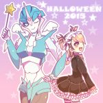 2girls arcee autobot gothic_lolita halloween headdress lolita_fashion miko_nakadai multicolored_hair multiple_girls transformers transformers_prime wings wink