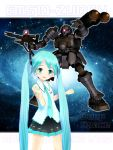 character_name crossover galaxy gun gundam gundam_ms_igloo hatsune_miku long_hair mecha mikumikudance space twintails vocaloid weapon zudah