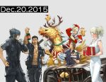 1girl 4boys abs antlers bottle cake chocobo christmas dated dress final_fantasy final_fantasy_xv food gladiolus_amicitia hat ignis_scientia jacket lunafreya_nox_fleuret multiple_boys noctis_lucis_caelum official_art plate present prompto_argentum riding santa_hat square_enix work_in_progress