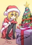 1girl artist_name bangs black_legwear blonde_hair blush bow box candy candy_cane capelet christmas christmas_tree coffee_(ecafree2) english excited fur hair_between_eyes hands_on_knees happy hat kneeling lollipop merry_christmas miniskirt mittens no_shoes ornament pigeon-toed pleated_skirt present red_hat red_skirt santa_costume santa_hat simple_background skirt smile solo sparkle squatting star star-shaped_pupils symbol-shaped_pupils thigh-highs thighs tree yellow_background