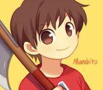 1boy animal_crossing:_city_folk axe brown_hair doubutsu_no_mori male_focus nintendo oideyo!_doubutsu_no_mori short_hair smile solo villager_(doubutsu_no_mori) wusagi2