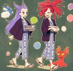 10s 2girls asuna_(pokemon) gym_leader multiple_girls nagi_(pokemon) pokemon pokemon_(game) pokemon_oras purple_hair redhead robe slugma smile swablu ucchii