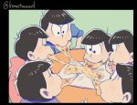 6+boys black_border black_hair border brothers closed_eyes eating food hebii male_focus matsuno_choromatsu matsuno_ichimatsu matsuno_juushimatsu matsuno_jyushimatsu matsuno_karamatsu matsuno_osomatsu matsuno_todomatsu messy_hair mouth_hold multiple_boys osomatsu-kun osomatsu-san pizza sextuplets siblings sitting table twitter_username wall-eyed