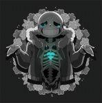 1boy animated animated_gif broken_heart dying flower heart hood hoodie npc-dion sans shrug skeleton solo spot_color tears undertale