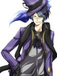 1boy absurdres black_gloves black_hair chandelure glasses gloves hand_on_hip hat highres kamuro_(3422124) personification pokemon purple_hat smile solo teeth upper_body yellow_eyes