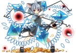 1girl animal_ears basket capelet danmaku dowsing_rod dress full_body grey_dress jewelry kozakura_(dictionary) long_sleeves looking_at_viewer mary_janes mouse mouse_ears mouse_tail nazrin necklace open_mouth puzzle_&_dragons red_eyes shoes short_hair socks solo tail touhou white_background white_legwear