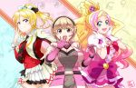 3girls ayase_eli blonde_hair blue_eyes blush breasts crossover cure_flora gloves go!_princess_precure hair_ornament hairclip hand_on_hip haruno_haruka headset kamen_rider kamen_rider_riderbout large_breasts long_hair looking_at_viewer love_live!_school_idol_project magical_girl multicolored_hair multiple_girls open_mouth pink_hair ponytail precure seven_(11) short_hair smile sore_wa_bokutachi_no_kiseki two-tone_hair uniform