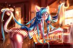 1girl alternate_costume alternate_hairstyle animal_ears bangs bent_over blue_eyes blue_hair blurry blush bokeh bow box cabinet cat_ears cat_tail cup depth_of_field door drinking_glass flower glass hair_flower hair_ornament hatsune_miku highres indoors kemonomimi_mode kona_(koma-m) long_hair looking_at_viewer one-piece_swimsuit paper polka_dot polka_dot_bow polka_dot_swimsuit scroll signature solo sunlight swimsuit tail tail_bow tail_through_clothes unmoving_pattern very_long_hair vocaloid window