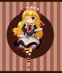 1girl apron blonde_hair blue_eyes braid brown_background dress flower frills hairband long_hair maid maid_apron maid_headdress one_eye_closed present ribbon rose shirley_fennes shoes smile tales_of_(series) tales_of_legendia wink