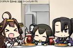 >:) >:d >;) >_< 5girls :3 :d ahoge black_eyes closed_eyes dated eating fork hamu_koutarou headgear isonami_(kantai_collection) kantai_collection kongou_(kantai_collection) multiple_girls nachi_(kantai_collection) one_eye_closed open_mouth ru-class_battleship shinkaisei-kan side_ponytail smile suzukaze_(kantai_collection) translation_request xd