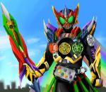 1boy alternate_costume armor gatakiriba_(ooo_combo) helmet kamen_rider kamen_rider_ooo kamen_rider_ooo_(series) kurosshu putotyra_(ooo_combo) ratoratah_(ooo_combo) rider_belt sagohzo_(ooo_combo) sword tatoba_(ooo_combo) weapon