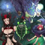 animal_ears annie_hastur baron_nashor black_hair breasts cleavage elise_(league_of_legends) fiddlesticks green_eyes hand_on_hip highres insect_girl league_of_legends long_hair monster_girl multiple_girls navel pink_hair poppy redhead scofa short_hair spider_girl talon_(league_of_legends) yordle