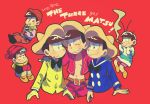 6+boys beanie bow bowtie brothers brown_hair cigar cropped_jacket crossover disney donald_duck donald_duck_(cosplay) english hat highres jose_carioca jose_carioca_(cosplay) male_focus matsuno_choromatsu matsuno_ichimatsu matsuno_juushimatsu matsuno_jyushimatsu matsuno_karamatsu matsuno_osomatsu matsuno_todomatsu miniboy multiple_boys one_eye_closed osomatsu-kun osomatsu-san panchito_pistoles panchito_pistoles_(cosplay) red_background risao sailor scarf sextuplets siblings simple_background sleeves_past_wrists smile smoking sombrero the_three_caballeros upper_body
