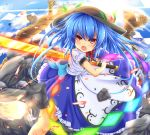 1girl blue_hair food fruit hat hinanawi_tenshi long_hair open_mouth peach red_eyes solo touhou unory