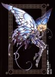 1boy armor armored_boots black_background blonde_hair butterfly_wings future_studio_(artist) gauntlets gloves highres open_mouth papillon_myu sacred_saga saint_seiya solo wings