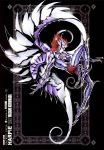 1boy armor armored_boots black_background boots future_studio_(artist) gauntlets gloves harpy_valentine highres mechanical_wings redhead sacred_saga saint_seiya solo wings