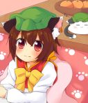 1girl :3 chen chinoru commentary_request fang highres kotatsu lying on_stomach solo table touhou under_kotatsu under_table zzz