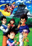 1girl 6+boys arms bangs black_eyes black_hair blue_eyes blue_sky brothers buildings castle closed_eyes clouds dragon_ball dragon_ball_super dragonball_z eyebrows family father_and_son fingers flying_nimbus forehead glasses gloves grass hairband hands majin_buu multiple_boys muscle neck purple_hair siblings sky son_gohan son_gokuu son_goten spiky_hair takoyaki tree trunks_(dragon_ball) vegeta videl wristband