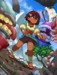 1girl ajna_(indivisible) ankle_wraps beads bike_shorts bleeding blood brown brown_hair cuts dark_skin draw-till-death hair_ornament highres indivisible injury monster sandals scar short_hair solo standing tan