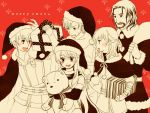 1girl 4boys :d bare_shoulders black_gloves blush christmas edward_(fire_emblem) facial_hair fingerless_gloves fire_emblem fire_emblem:_akatsuki_no_megami gift gloves hat leonardo_(fire_emblem) looking_at_another micaiah monochrome multiple_boys multiple_girls nolan open_mouth red_background santa_costume santa_hat scarf smile sothe stuffed_animal stuffed_toy sweatdrop teddy_bear yukaris