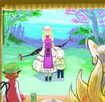 1boy 3girls animal_ears asriel_dreemurr black_shoes blonde_hair blue_pants blue_sky bow brown_hair cat_ears cat_tail chen clouds commentary crossover cup dated dress eyes flying_sweatdrops forest fox_tail from_behind gap gapangman grass green_hat hair_bow hat hat_ribbon height_difference long_hair mob_cap mountain multiple_girls multiple_tails nature outdoors pants pillow_hat plate red_dress red_eyes ribbon shirt shoes short_dress sidelocks signature silhouette sitting sky sleeveless sleeveless_dress smile solid_oval_eyes spoilers standing striped striped_shirt tabard tail teacup touhou tree two_tails undertale white_dress yakumo_ran yakumo_yukari