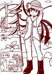 2girls asymmetrical_wings black_hair contemporary farming field hat houjuu_nue long_sleeves maru_rx multiple_girls pants scarf standing tatara_kogasa touhou tractor wings